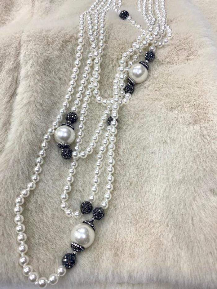 Edward Achour Paris Jewellery One Size Edward Achour Paris Pearl and Diamantee Necklace 419119 izzi-of-baslow