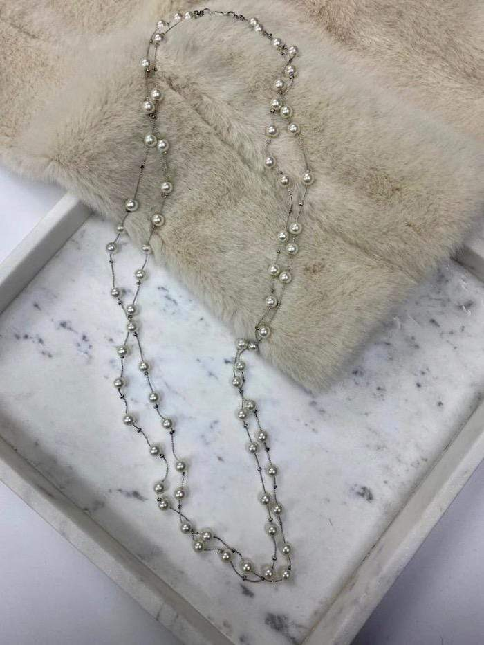 Edward Achour Paris Jewellery One Size Edward Achour Paris Pearl and Fine Silver Necklace 419127 izzi-of-baslow