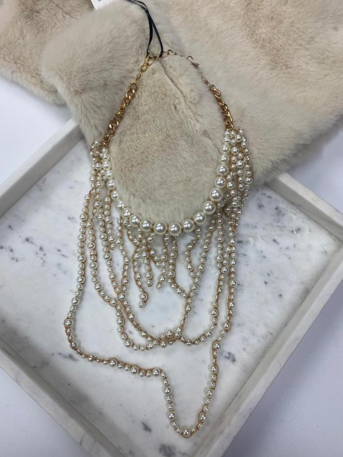 Edward Achour Paris Jewellery One Size Edward Achour Paris Pearl and Gold Short Necklace 409134 izzi-of-baslow
