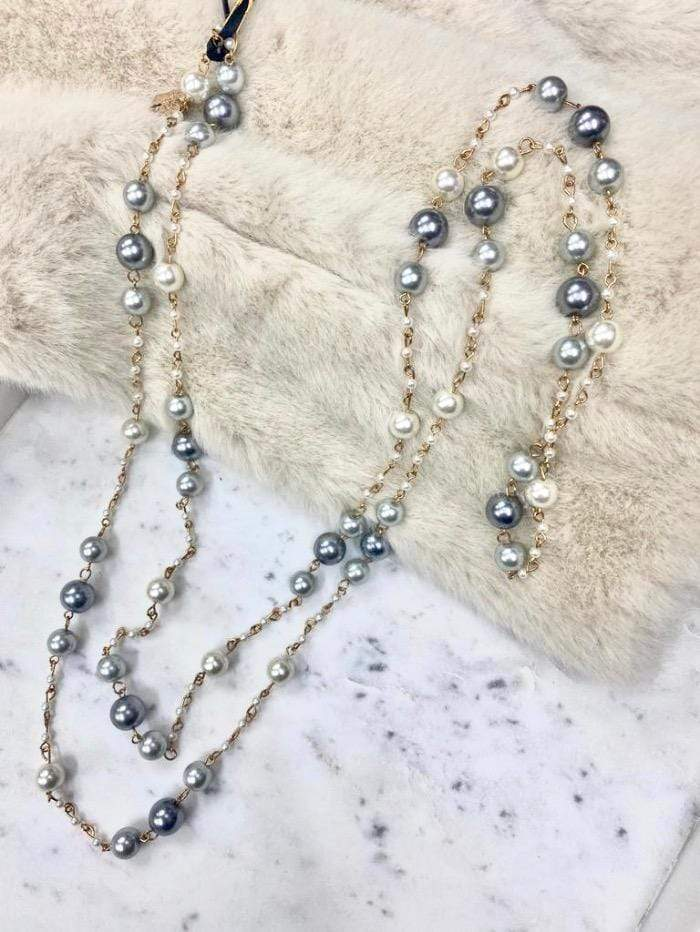 Edward Achour Paris Jewellery One Size Edward Achour Paris Pearl Cream and Grey Necklace 409123 izzi-of-baslow