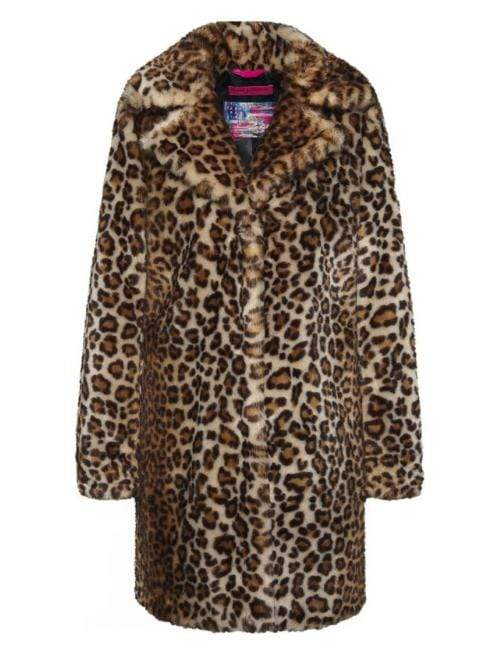 Frieda & Freddies Coats and Jackets Frieda & Freddies Leo-Sky Faux Leopard Print Coat 7803 izzi-of-baslow