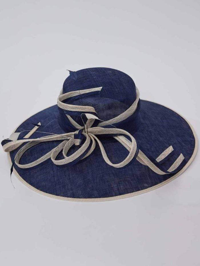 Gina Bacconi Accessories One Size / Navy and Ivory Gina Bacconi Navy and Ivory Jahari Hat izzi-of-baslow