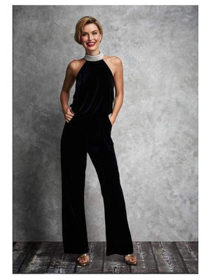 Gina Bacconi All-In-Ones Gina Bacconi Black Jovanna Velvet Jumpsuit With Jewel Collar SRR3140 izzi-of-baslow