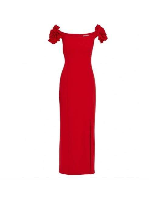 Gina Bacconi Dresses 8 Gina Bacconi Ivalo Crepe Maxi Dress Fire Red STT2593 izzi-of-baslow