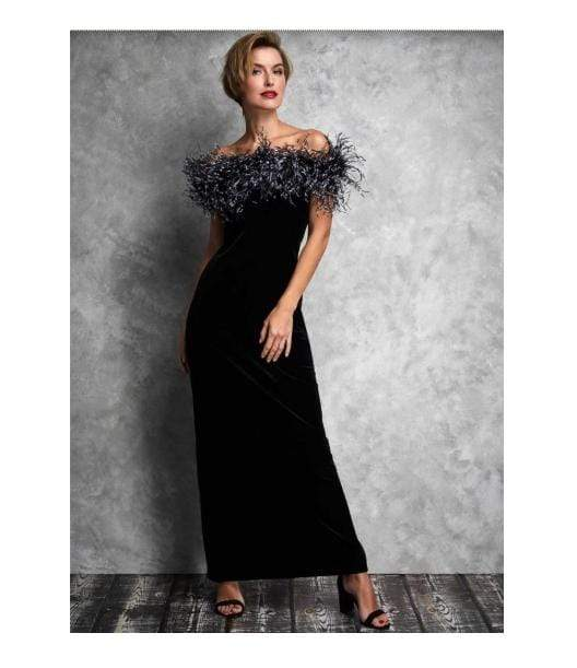 Gina Bacconi Dresses Gina Bacconi Black Winona Feather Trim Velvet Maxi Dress SRR3172 izzi-of-baslow