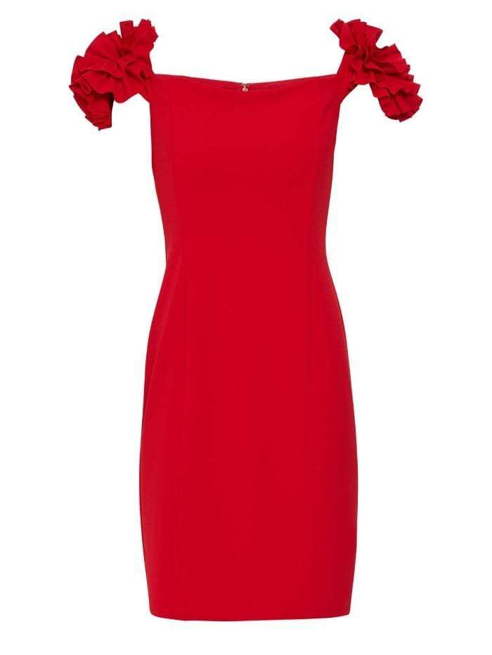 Gina Bacconi Dresses Gina Bacconi Bretta Crepe Cocktail Dress Fire Red STT2594 izzi-of-baslow