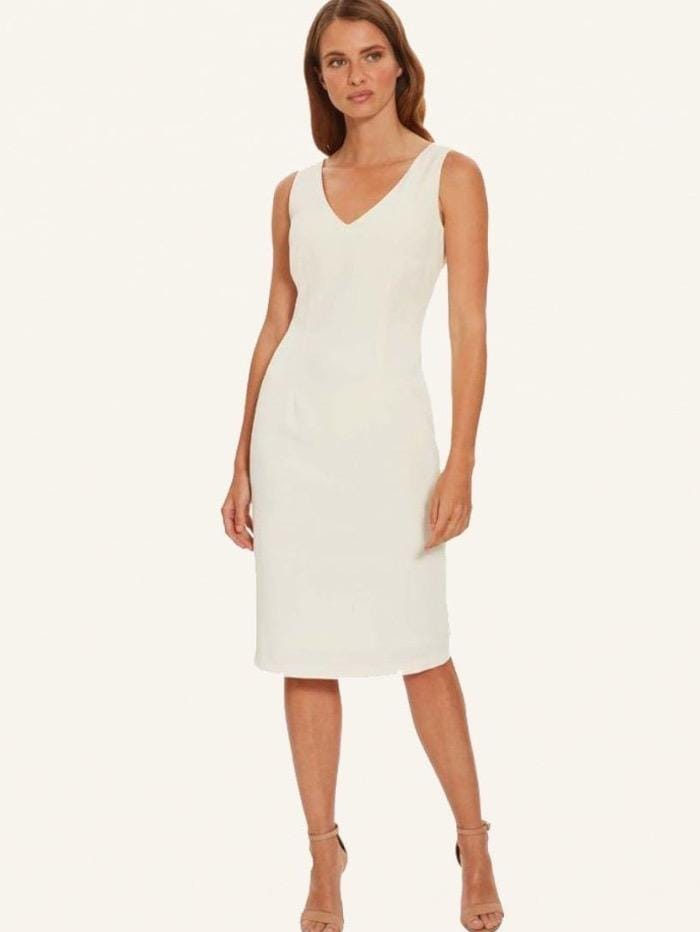 Gina Bacconi Dresses Gina Bacconi Butter Cream Sleeveless V Neck Merna Dress STT2697 BUT izzi-of-baslow