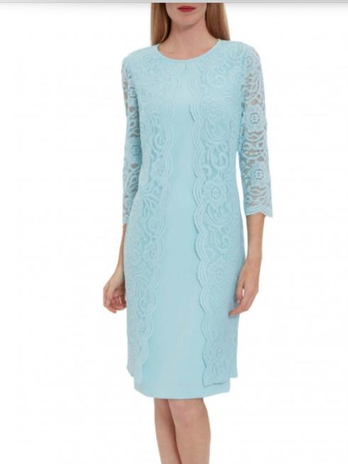 Gina Bacconi Dresses Gina Bacconi Clarabelle Lace Dress Ice Blue SBZ5651 izzi-of-baslow