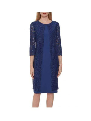 Gina Bacconi Dresses Gina Bacconi Farlyn Crepe and Lace Dress Navy STT2681 izzi-of-baslow