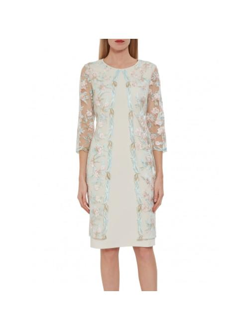Gina Bacconi Dresses Gina Bacconi Haila Crepe and Embroidery Dress Turquoise and Pink STT2626 izzi-of-baslow