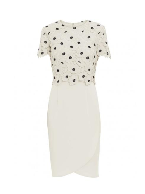 Gina Bacconi Dresses Gina Bacconi Jayna Crepe and Lace Dress Cream Navy SBZ5517 izzi-of-baslow