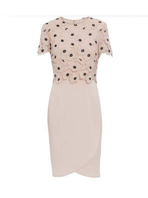 Gina Bacconi Dresses Gina Bacconi Jayna Crepe and Lace Dress Pink Navy SBZ5517 izzi-of-baslow