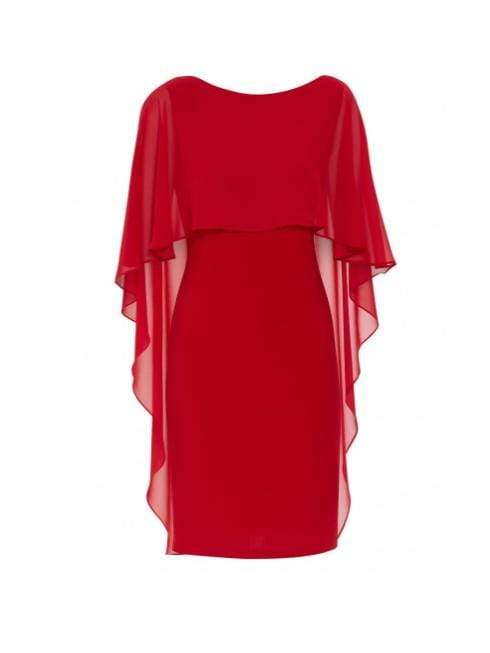 Gina Bacconi Dresses Gina Bacconi Kaisa Dress With Chiffon Cape Red STT2529 izzi-of-baslow