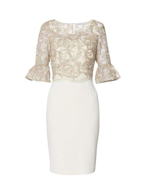 Gina Bacconi Dresses Gina Bacconi Marta Dress Beige and Gold With Lace Overlay SRR3038 izzi-of-baslow
