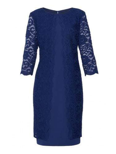 Gina Bacconi Dresses Gina Bacconi Mavis Crepe and Lace Dress Navy SSS1060 izzi-of-baslow