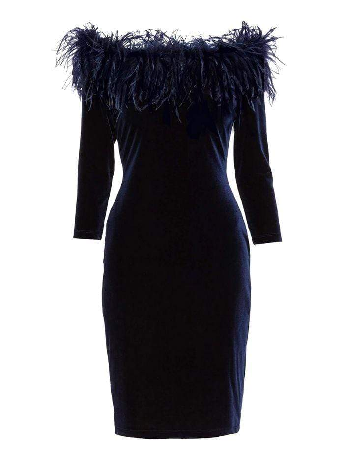 Gina Bacconi Dresses Gina Bacconi Navy Dania Feather Trim Dress STT2779 izzi-of-baslow