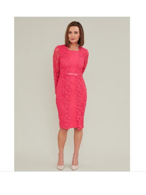 Gina Bacconi Dresses Gina Bacconi Summer Lace And Crepe Dress Fuchsia Rose SSS1001 izzi-of-baslow