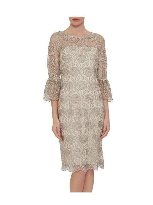 Gina Bacconi Dresses Gina Bacconi Theora Embroidery Dress Butter Cream SSS1006 izzi-of-baslow