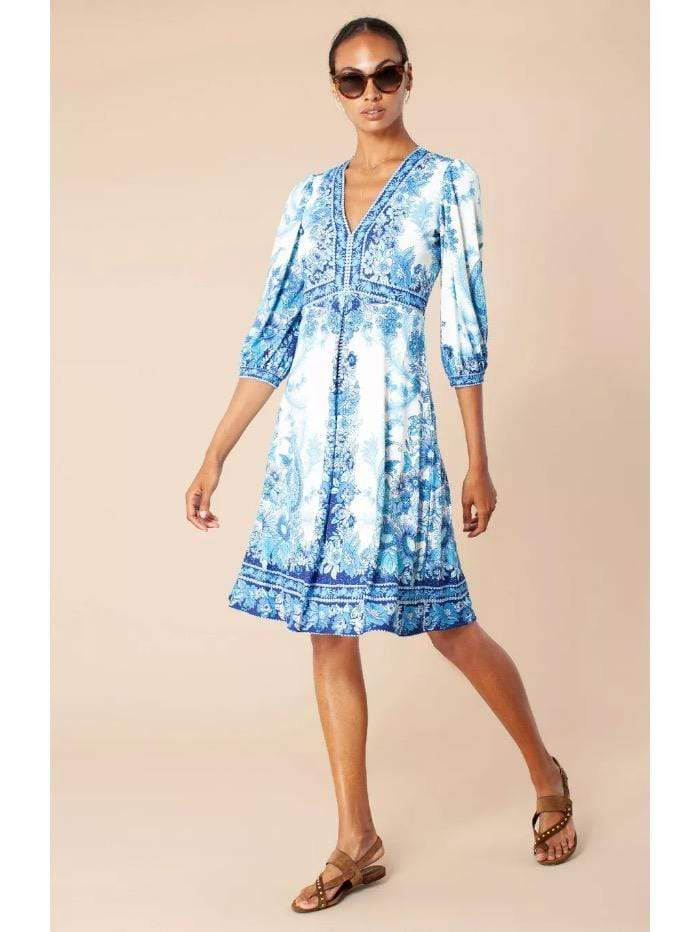 Hale Bob Dresses Hale Bob Blue and White Printed Dress izzi-of-baslow