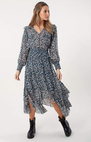 Hale Bob Dresses Hale Bob Edna Dress In Black Flower Print 06EU6904 izzi-of-baslow