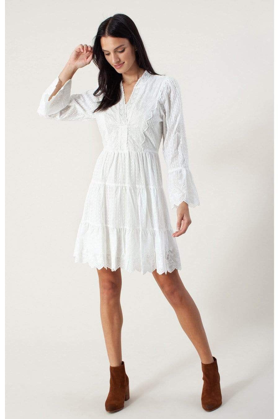 Hale Bob Dresses Hale Bob Mila Dress White 05GS6884 izzi-of-baslow