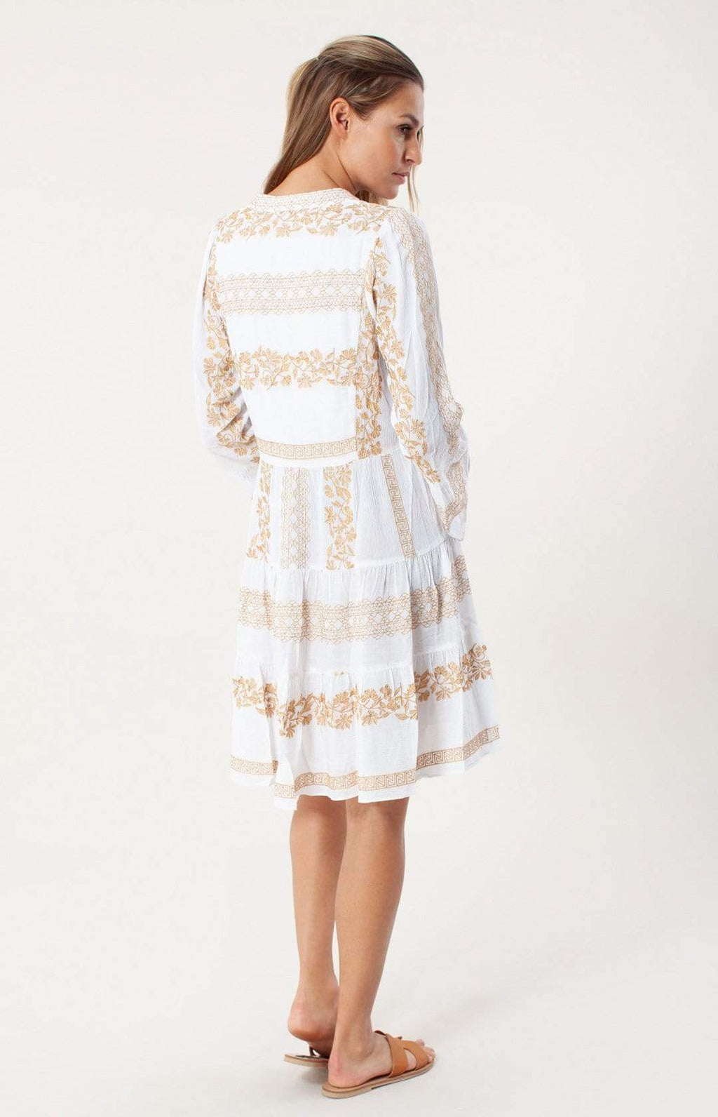 Hale Bob Dresses Hale Bob Mila Dress White With Gold Embroidery 05GS6885 izzi-of-baslow