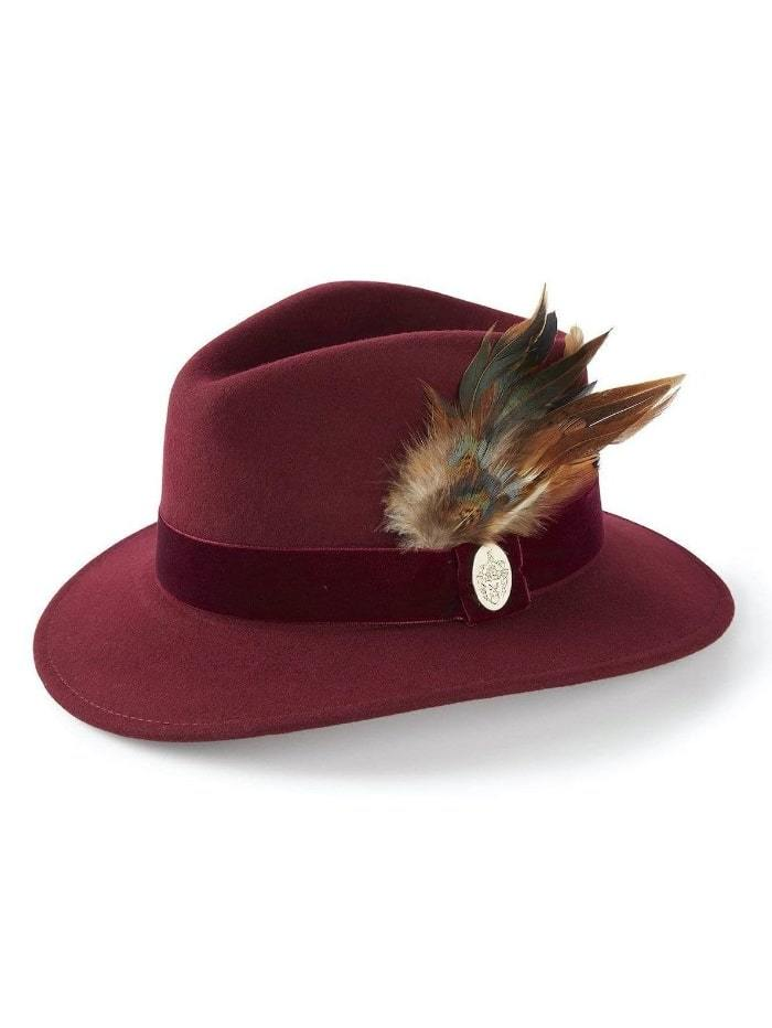 Hicks and Brown Accessories Hicks And Brown Chelsworth Fedora Maroon HBCH1MA izzi-of-baslow