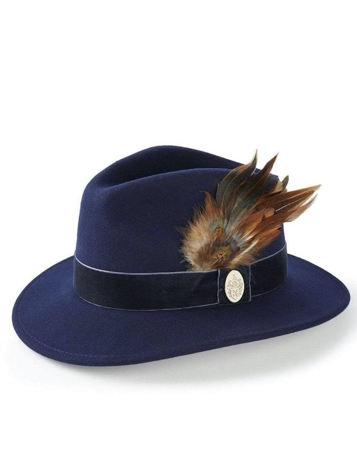 Hicks and Brown Accessories Hicks And Brown Chelsworth Fedora Navy HBCH1MA izzi-of-baslow