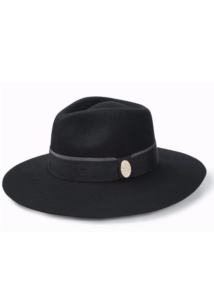Hicks and Brown Accessories Hicks And Brown Oxley Fedora Black HBOXBL izzi-of-baslow
