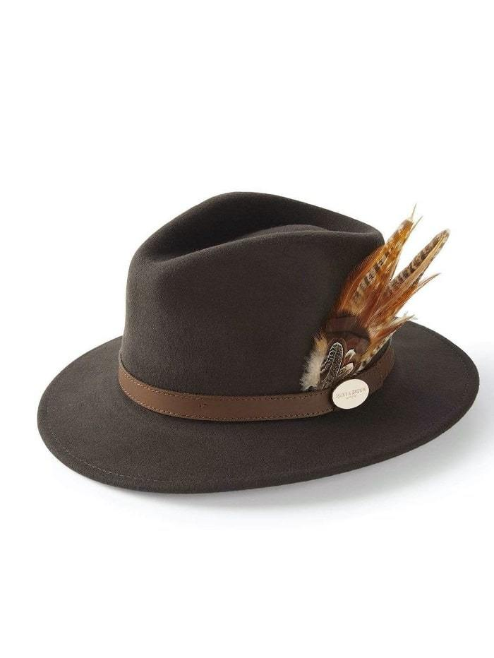 Hicks and Brown Accessories Hicks And Brown Suffolk Fedora Brown HBSF1BR izzi-of-baslow