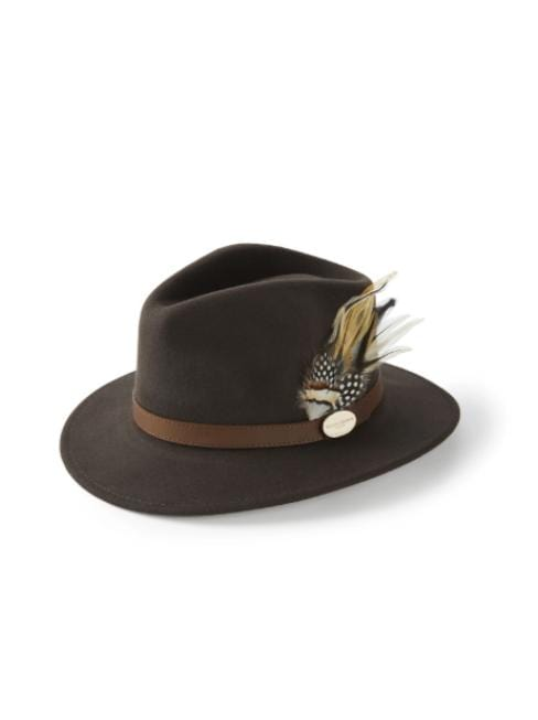 Hicks and Brown Accessories Hicks And Brown Suffolk Fedora Dark Brown HBSF2BR izzi-of-baslow
