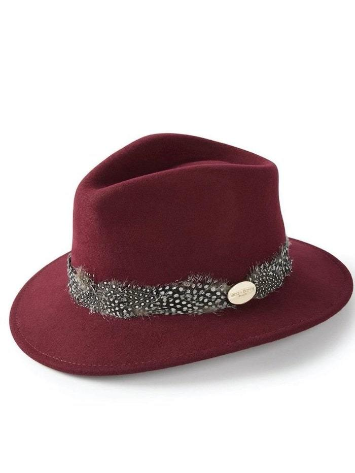 Hicks and Brown Accessories Hicks And Brown Suffolk Fedora Maroon HBSW2MA izzi-of-baslow