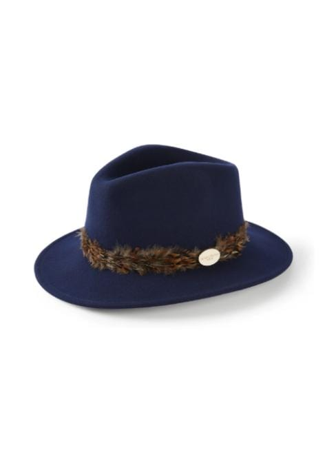 Hicks and Brown Accessories Hicks And Brown Suffolk Fedora Navy HBSW1NA izzi-of-baslow