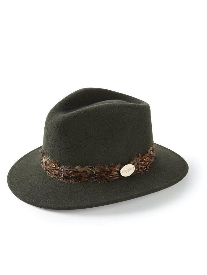 Hicks and Brown Accessories Hicks And Brown Suffolk Fedora Olive Green HBSW10G izzi-of-baslow