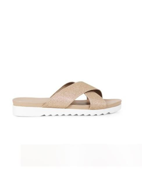 Ilse Jacobsen Shoes Ilse Jacobsen Cross Over Glitter Sandals Champagne CHIRA 1090 izzi-of-baslow