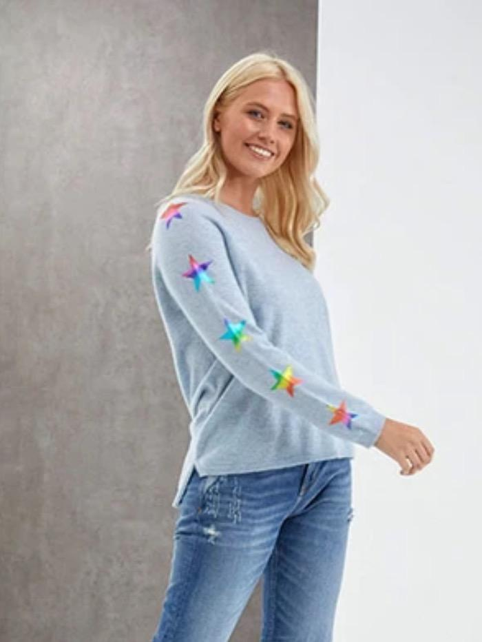 Izzi of Baslow Brodie Cashmere Sky Rainbow Sweater With Foil Star Sleeve EW7096 izzi-of-baslow