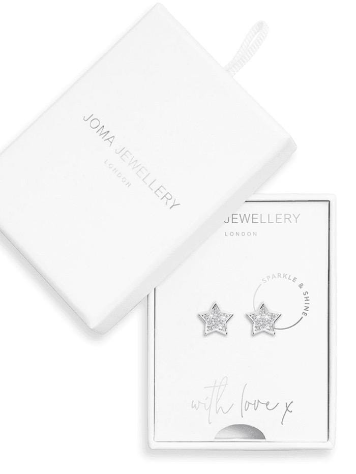 Joma Jewellery Jewellery Joma Earrings 3494 Sparkle and Shine Silver Coloured Star Studs with Diamantee izzi-of-baslow