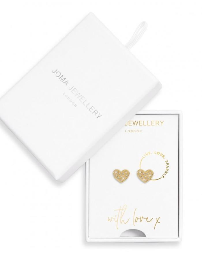 Joma Jewellery Jewellery Joma Earrings 3499 Live Love Sparkle Gold Coloured Heart Studs with Diamantee izzi-of-baslow