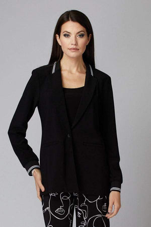 Joseph Ribkoff Coats and Jackets Joseph Ribkoff Black Jacket With White Stripe 201027 izzi-of-baslow