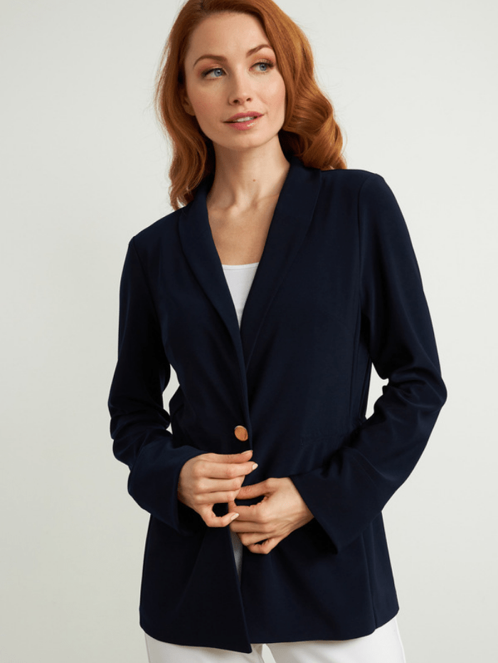 Joseph Ribkoff Coats and Jackets Joseph Ribkoff Midnight Blue Gold Button Blazer 211328 (A) izzi-of-baslow