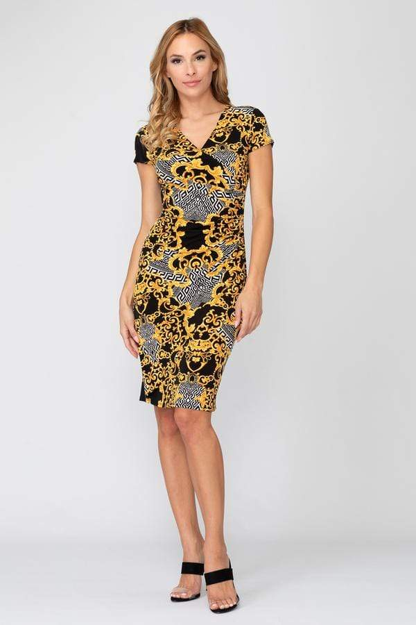 Joseph Ribkoff Dress Joseph Ribkoff Black and Gold Printed Dress 193590 izzi-of-baslow