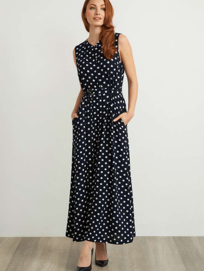 Joseph Ribkoff Dresses 8 Joseph Ribkoff Navy White Polka Dot Dress 211027 izzi-of-baslow
