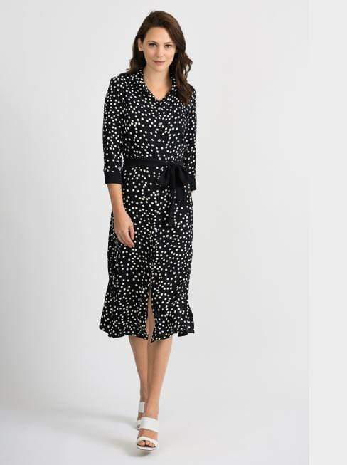 Joseph Ribkoff Dresses Joseph Ribkoff Black and Vanilla Spotty Dress 201387 izzi-of-baslow