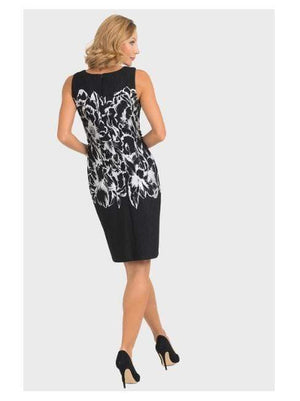 Joseph Ribkoff Dresses Joseph Ribkoff Silver and Black Dress With Flowers 193785 izzi-of-baslow