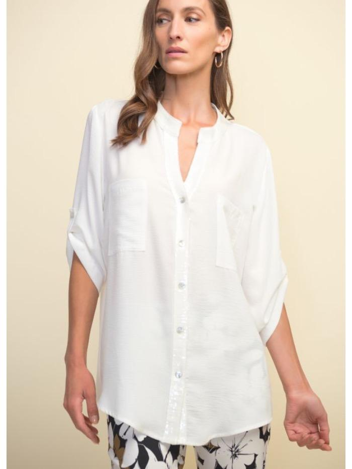 Joseph Ribkoff Tops Joseph Ribkoff White Blouse with Sequinned Detail 211170 izzi-of-baslow