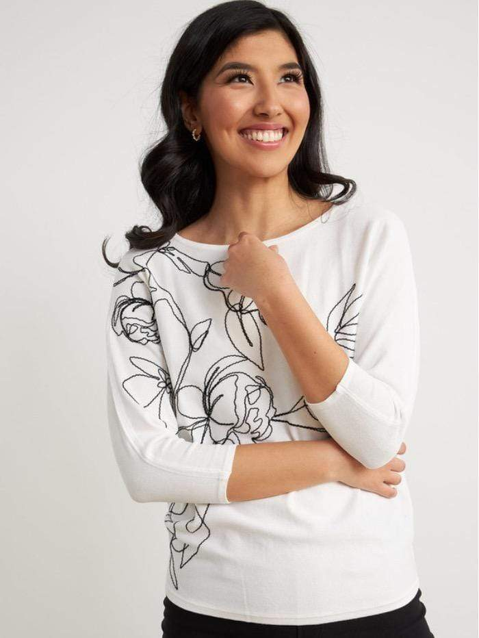 Joseph Ribkoff Tops Joseph Ribkoff White With Black Knit 211938 1846 izzi-of-baslow