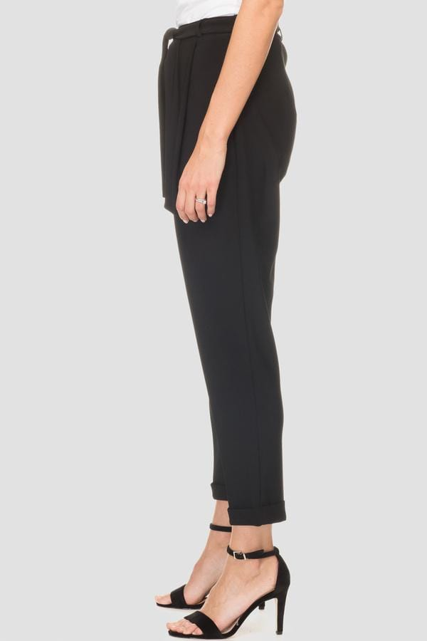 Joseph Ribkoff Trousers Joseph Ribkoff Black Trouser with Tie Waist And Turn Up 193124 izzi-of-baslow