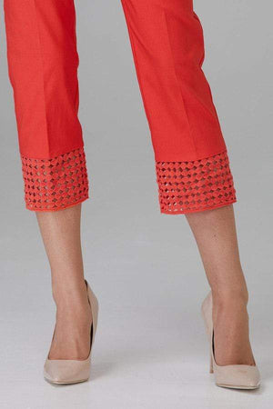 Joseph Ribkoff Trousers Joseph Ribkoff Papaya Cutout Hem Crop Trousers 201437 izzi-of-baslow