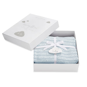 Katie Loxton Accessories One Size Katie Loxton Cotton Baby Blanket Pale Blue and White BA0054 izzi-of-baslow