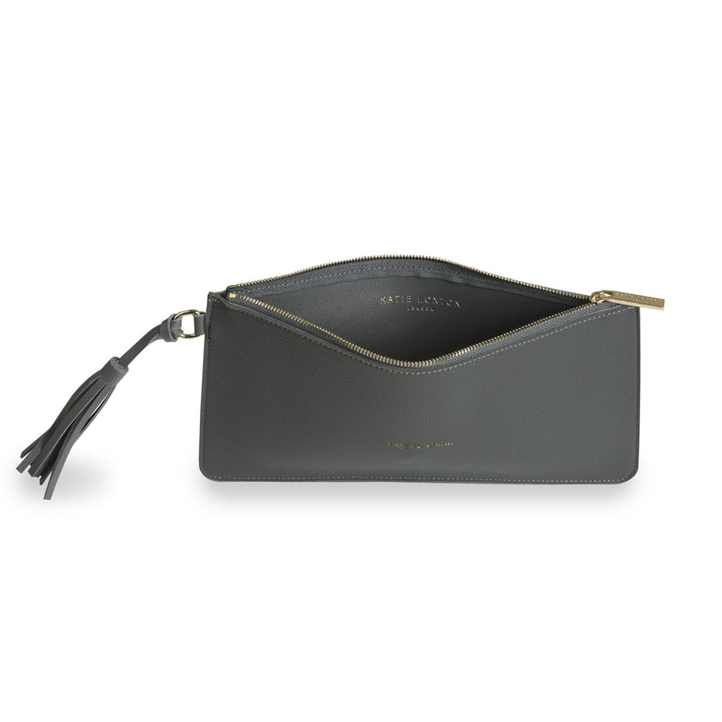 Katie Loxton Accessories One Size Katie Loxton Florrie Tassel Time To Shine Pouch Charcoal KLB374 izzi-of-baslow